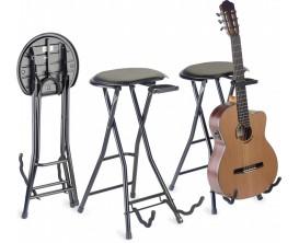 STAGG GIST-350 - Tabouret pliable avec stand pour guitare, avec sécurité