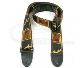 "FENDER 0990681000 2"" Monogrammed Strap, Black/Yellow/Brown"