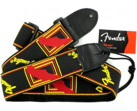 "FENDER 0990681500 2"" Monogrammed Strap, Black/Yellow/Red"