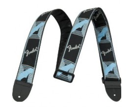 "FENDER 0990681502 2"" Monogrammed Strap, Black/Light Grey/Blue"