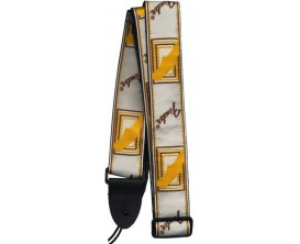 "FENDER 0990683000 2"" Monogrammed Strap, White/Brown/Yellow"