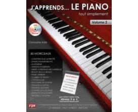 LIBRAIRIE - J'apprends... Le Piano tout simplement Vol.2 (Nveau 3 & 4 avec CD) - Ch. Astié - F2M Editions