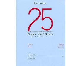 LIBRAIRIE - 25 Etudes Spécifiques pour la Flûte Traversière - Cycle 1, 3eme année - E. Ledeuil - Ed. Musicales A. Leduc