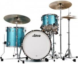 LUDWIG USA L7043AXT8 - Shell Kit 3 fûts Keystone X Pro Beat (24/13/16), sans HW ni Cymbales, Turquoise Glitter