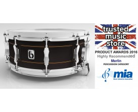 "BRITISH DRUM CO. MER-1465-SN - Caisse claire Merlin 14 x 6,5"", fût hybride érable / bouleau, 10,5 mm, 20 plis"