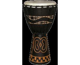 "TANGA DA60-7G - Djembé artisanal 12"" sculpté, Acajou, peau chèvre, cordage traditionnel, noir"