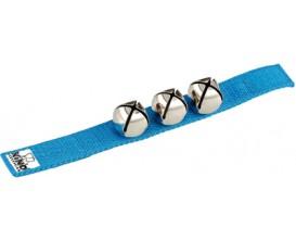 NINO 961B Bracelet nylon avec velcro 3 grelots - Bleu