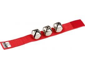 NINO 961R Bracelet nylon avec velcro 3 grelots - Rouge