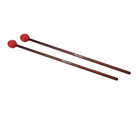 HAYMAN MM-3 - Marimba mallets, 406 mm. rattan handle, pair, 32 mm. medium hard head, red