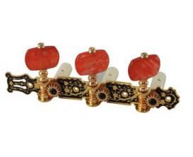 FIRE&STONE 545.344 - Jeu de Mécaniques Classiques, dorées, boutons Ambrés, écartement 35mm