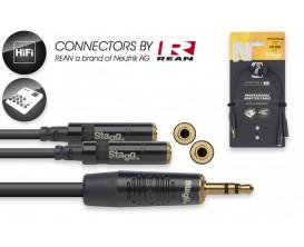 STAGG NYA010/MPS2MJSR Câble en Y 10 cm mini jack stéréo M / 2x mini jack stéréo F*