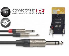 STAGG NYA010/PS2PR Câble en Y 10 cm jack stéréo M / 2x jack mono M *