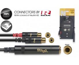 STAGG NYA010/JS2CFR Câble en Y 10 cm jack stéréo M / 2x Cinch (RCA) F *
