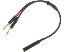 CORDIAL CFY0,3KPP - Câble Jack 2x Mono 6.3 mm males VERS stereo jack 6.3 mm femelle