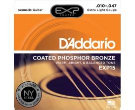 D'ADDARIO EXP15NY - Jeu de cordes folk 10/47 Extra Light, longue durée