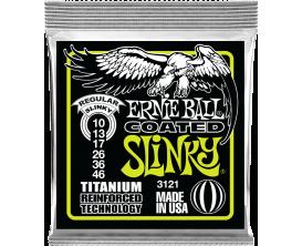 ERNIE BALL 3121 - Jeu de cordes guitare électrique Coated Slinky Titanium 10/46