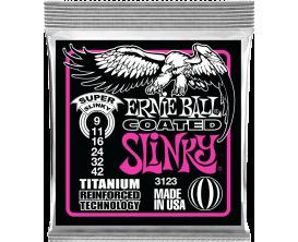 ERNIE BALL 3123 - Jeu de cordes guitare électrique Coated Slinky Titanium 9/42