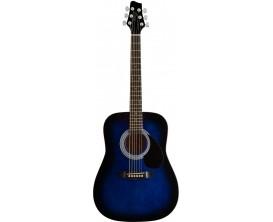 STAGG SW201 3/4 BLS - Guitare acoustique dreadnought, modèle 3/4, Bleu