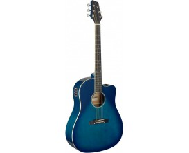 STAGG SA35 DSCE-TB - Guitare Dreadnought électro-acoustique, Slope Shoulder, pan coupé, Bleu transparent