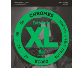 D'ADDARIO ECB80 - Jeu de 4 cordes basse filet plat Chromes, Tirant Super Soft 40-60-75-95