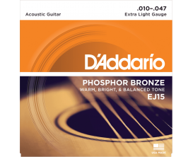 D'ADDARIO EJ15 - Jeu de cordes Folk Phosphore Bronze, Tirant Extra Light 10-14-23-30-39-47
