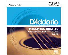 D'ADDARIO EJ16 - Jeu de cordes Folk Phosphore Bronze, Tirant Light 12-16-24-32-42-53