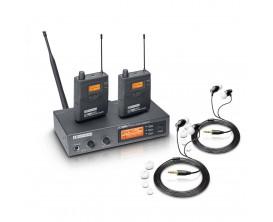 LD SYSTEMS MEI1000 G2 Bundle - Système d'In-Ear Monitoring HF avec 2 récepteurs Beltpack et 2 paires d'écouteurs intra