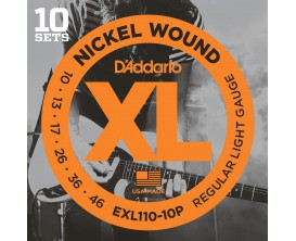 D'ADDARIO EXL110-10P - Pack 10 jeux EXL110 LIGHT 10-13-17-26-36-46