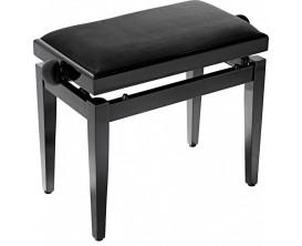 STAGG PB05 BKM VBK - Banquette piano noir mat avec pelote en velours noir