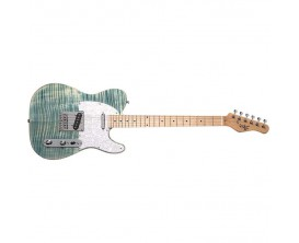 MICHAEL KELLY 1953 Blue Jean Wash - Guitare électrique type Tele, Corps en Aulne, table érable flammé, 2 Micros simples Rockfiel