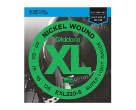 D'ADDARIO EXL220-5 - jeux de 5 cordes pour basse Super Light, 40-60-75-95-125