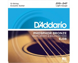 D'ADDARIO EJ38 - Jeu de 12 cordes folk, Phosphore Bronze, Light