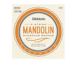 D'ADDARIO EJ74 - Jeu de cordes Mandoline à boucles, Medium, Phosphor Bronze