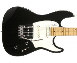 GODIN Session Black HG MN - Guitare type Strat, 2 simples + 1 humbucker Godin, Maple Neck, Finition BlackBurst Brillante High Gl