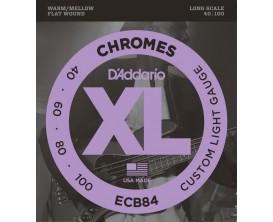 D'ADDARIO ECB84 - Jeu de 4 cordes basse filet plat Chrome Custom Light, tirant 40-60-80-100