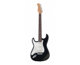 """STAGG S300LH-BK - Guitare électrique Standard """"S"""" pour gaucher, Noir"""