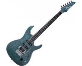 IBANEZ SA560MB-ABT - Guitare électrique série SA, Corps acajou, table Peuplier Burl, HSS, finition Aqua Blue Flat