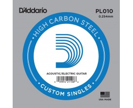 D'ADDARIO PL010 - Corde seule en acier pur pour guitare 0.10