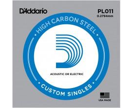 D'ADDARIO PL011 - Corde seule en acier pur pour guitare 0.11