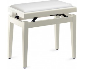STAGG PB05 WHM SWH - Banquette piano blanc mat avec pelote en skai blanc