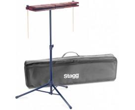 STAGG WB-SET 5B - Ensemble Templeblock 5 pièces bois + pied + housse et mailloches
