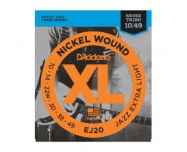 D'ADDARIO EJ20 - Jeu de Cordes en nickel pour guitare électrique, Jazz Extra Light, 10-49