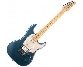 GODIN Session Desert Blue HG MN - Guitare type Strat, 2 simples + 1 humbucker Godin, Maple Neck, Finition Desert Blue Brillant
