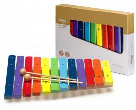 STAGG XYLO-J12 RB - Xylophone avec 12 lames de différentes couleurs et deux mailloches en bois
