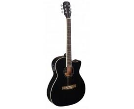 J.N. GUITARS BES-ACE BK - Guitare électro acoustique auditorium, Corps sapele pan coupé, Table épicéa massif, Finition noire