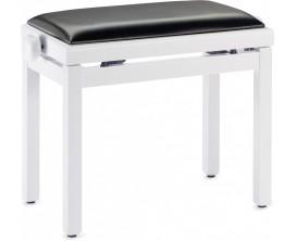 STAGG PB39 WHM SBK - banquette pour piano règlable - Blanc mate / pelote skai noir