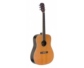 J.N. GUITARS EZR-D NBK - Guitare électro acoustique dreadnought, Corps sapele, Table cèdre massif, Finition naturelle