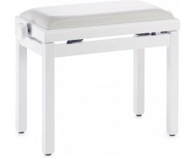 STAGG PB39 WHM SWH - Banquette de piano, couleur blanc mat, avec pelote en skai blanc