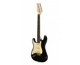 STAGG SES-30 BK LH - Guitare électrique type Stratocaster SERIE Standard S 30, Modèle gaucher, Finition noire