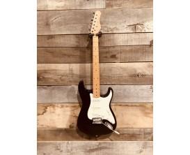 MAE WEST MESTB - Guitare électrique type Strat Vintage, corps aulne massif, manche et touche érable, 3 micros simples, Noir